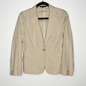Theory Size 6 Striped Blazer Jacket White Tan